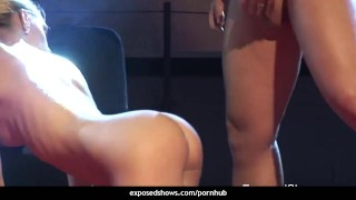 Horny blonde getting nailed on the stage