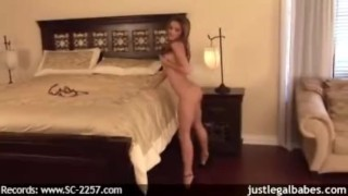 Amazing brunette strips and pussy plays for the cam