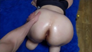 Step Sister's Big White Butt Massage With Oil. Amputation. Stump. Ass fingering.